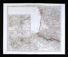 1875 Stieler Map - SW France - Bordeaux Paris Lyon Plan Pyrenees N. Spain Europe