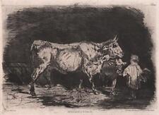 LUDOVIC NAPOLEON LEPIC (1839-1889) Antique Etching INTERIEUR D'ETABLE 1875