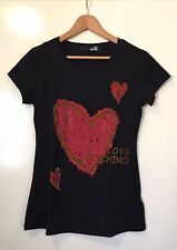 WOMENS 'LOVE MOSCHINO' Size S BLACK w RED EMBELLISHED HEART SHORT SLEEVE TSHIRT