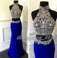 New High Neck Crystal Beads Celebrity Dress Two-Piece Evening Party Prom Gown
