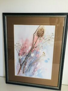 Signed Watercolour Painting Botanical Teasel PE HARE Grey Pink 48x37.5cm Frame