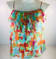 Ya Da Womens Top sz S Sheer 100% Silk Multi Color Ruffle Tank Cami Blouse GG76