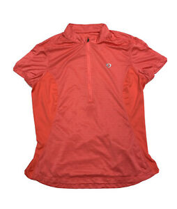 Pearl Izumi Cycling Jersey Womens Size M Short Sleeve 1/4 Zip Coral Red Striped