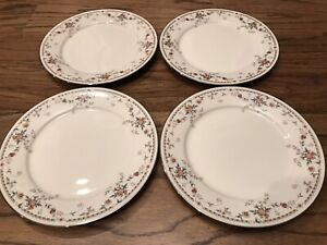"""Set of 4 Dinner Plates 10-1/2"""" Noritake ADAGIO 7237 Blue/Red floral silver china"""