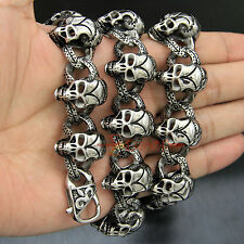 Stainless Steel Skulls Link Chain Men's Necklace Heavy Punk Gothic Biker Jewelry