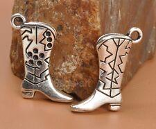 15pcs Tibetan Silver Cowboy Cowgirl Boot Charms necklace pendant 22x14mm A3355