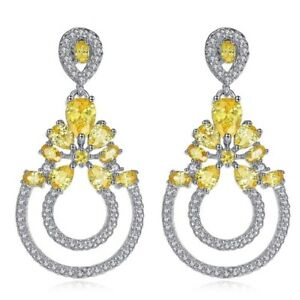 S14 The Robinette Gorgeous Earrings Made Using Swarovski Crystals Yellow $99