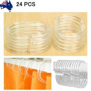 24 pcs Hooks Liner Bathroom Bathroom Shower Curtain Clear Hooks Rings Plastic