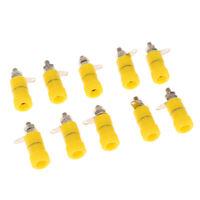 10pcs 4mm Banana Socket Jack Banana Binding Post Terminal For Weld yellow