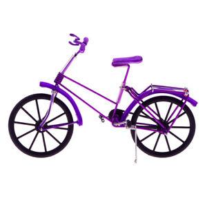 Handicraft Vintage Handmade Iron Bike Purple Bicycle Model Art Decor