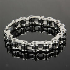 Men's Stainless Steel Bracelet Motorcycle Chain Link Biker Wrist Band 10mm