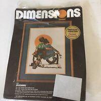 "Vintage 1981 Dimensions Crewel Kit #1201 Norman Rockwell Spooners 12"" x 16"""