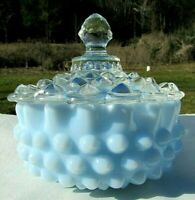 "1954 FENTON BLUE PASTEL HOBNAIL BASE w/ CLEAR COVERED CANDY DISH 5.5""W MINT"