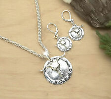 HORSE & WESTERN RODEO NECKLACE & EARRINGS SET - SILVER