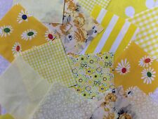 "100 x 4"" Yellow Collection poly cotton fabric patchwork squares Craft Quilting"