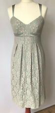 Warehouse Lace Shift Dress Green Antique Look Ribbon Straps Xmas Party NYE UK 10