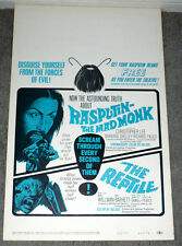 RASPUTIN THE MAD MONK/REPTILE original rolled 1966 HAMMER Poster CHRISTOPHER LEE