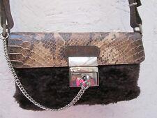 Joli sac à main Antonello Serio marron cuir et fourrure fermeture à clé bag