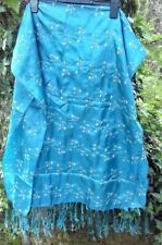 Blue embroidered scarf/shawl, very delicate