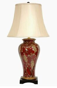 "Oriental Furniture 30"" Glazed Sakura Blossom Vase Lamp"