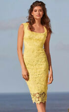 New Lipsy VIP Size 10 Lemon Yellow 3D Flower Premium All Over Lace Shift Dress