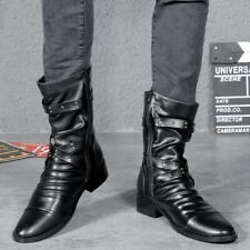 Retro Men's Gothic Rock Ankle Boots Punk Zipper Pointed Toe Buckle Belt Shoes