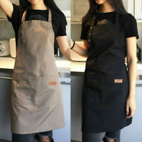 Solid Color Adjustable Bib Apron Waterproof Two Pockets Kitchen Baking Cooking