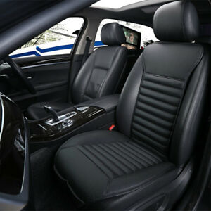 Breathable Apron Car Front Seat Cushion Cover Black PU Leather Bamboo Charcoal