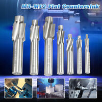 7Pcs Flat Countersink Head Cutter Drill Down M3-M12 HSS  Milling Machine Tool