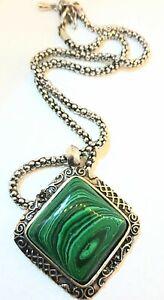 Stunning Silver Tone Vintage Malachite Semi Precious Stone Pendant Necklace