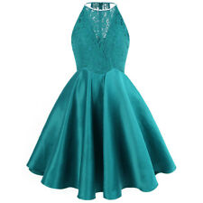 Angel-fashions Beading Halter Floral Lace Satin Short Prom Cocktail Dresses 385