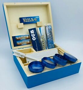 BLUE Wooden Rolling Box Rizla OCB Papers Roach Dank Plank NO1 Metal Grinder Tips