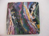 FIONA STUDIO Gold luster Porcelain art Painting purple blue green flower scene