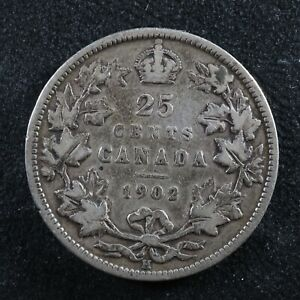 25 cents 1902H Canada King Edward VII silver coin c ¢ quarter VG-8