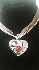 Murano Glass Heart Flower 25mm Pendant Necklace Pink E7a1
