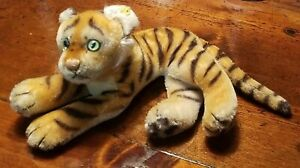Vintage STEIFF Laying Tiger Green Eyes Excellent Condition Button Ear Mohair 14""