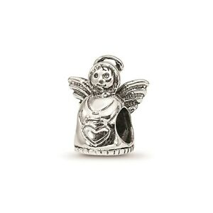 Reflection Beads Sterling Silver Antique Finish 3D Angel Holding Heart Bead