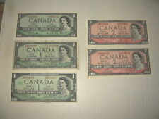 5 Canadian Dollar Bills 3 - One Dollar (1954 & 1967) 2 - Two Dollar (1954)