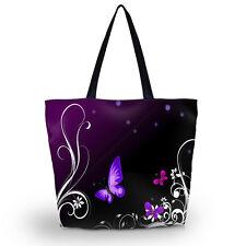 Purple Butterfly Womens Foldable Tote Shoulder Shopping School Portable Handbag