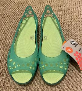 New CROCS Aisley Flat Sandal Celery/Aqua Green Women's 10