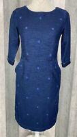 White Stuff Rye Blue Pocket Cotton Denim Jersey Dress Size 8 BNWT £65