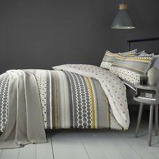 Fusion Retrace Stripe Geometric Floral Reversible Duvet Cover Bedding Set Ochre