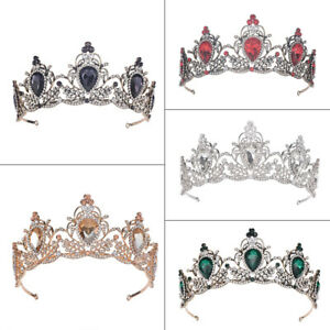 6cm High Drip Crystal Tiara Crown Wedding Party Pageant Prom Crown - 5 Colours