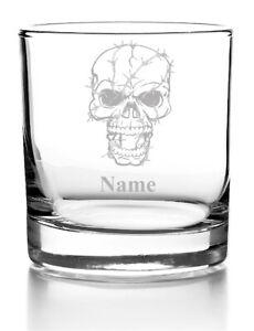 Whiskyglas mit Gravur Whisky Glas personalisiert mit Name, Skull Totenkopf