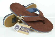 Hari Mari Men's Pier Water Resistant Leather Flip Flop Sandals Size 10 Brown