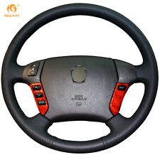 Black Genuine Leather Steering Wheel Cover Wrap for Toyota Crown 2006-2009