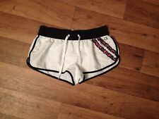 OP Jrs S 3/5 White/Black Ruffle Pull-on Elastic Waist No Pkts Poly Board Shorts
