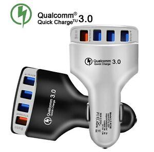 4 Port Fast Car Charger Cigarette Lighter USB Adaptor 12/24V Power Socket White