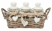 3 X HEARTS SMALL CLEAR GLASS JAR WITH WICKER BACKET CREAM BEIGE