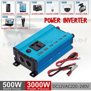 Convertisseur 500W 3000W DC 12V à AC 220V 230V Onduleur softstart 2.1A USB